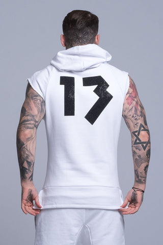 Mens Judas Sinned Men's Sleeveless Cut Off Rep Hoodie - White (HOODIE) - Judas Sinned Clothing