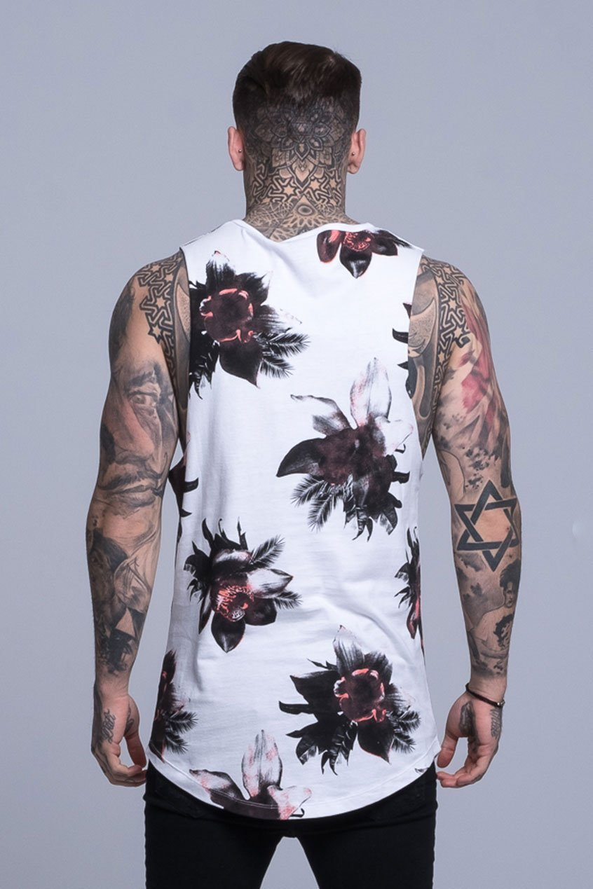Mens Judas Sinned Orchid Print Rock Men's Vest - White (T-SHIRT) - Judas Sinned Clothing