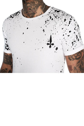 Mens Judas Sinned Paint Chaos Men's T-Shirt - White with Black Paint (T-SHIRT) - Judas Sinned Clothing