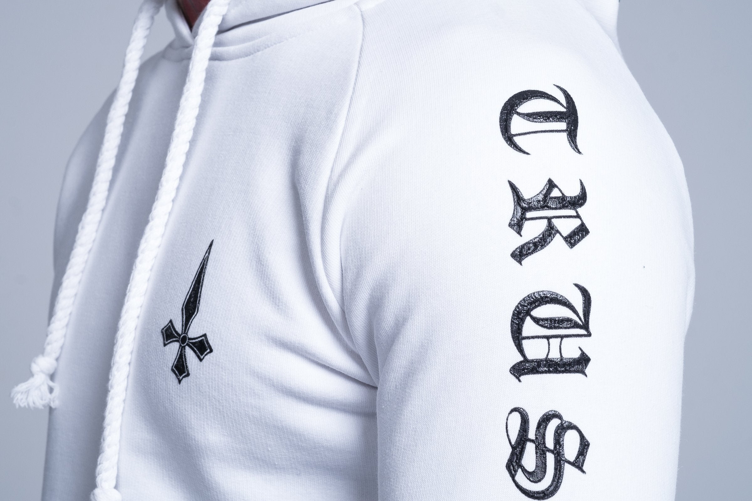 Mens Judas Sinned Printed Trust Hoodie - White (HOODIE) - Judas Sinned Clothing