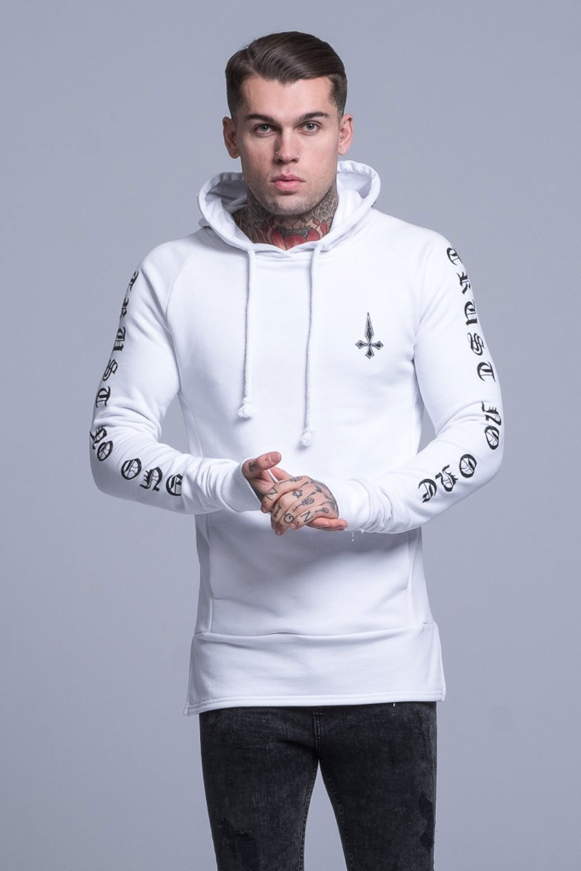 Judas Sinned Printed Trust Men's Hoodie - White - Judas Sinned Clothing
