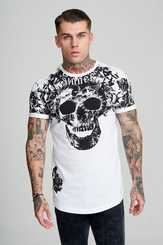 Judas Sinned All Over Orchid Print Resort Shirt - White