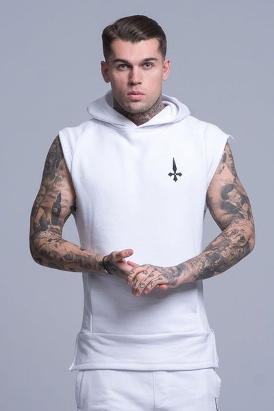Judas Sinned Sleeveless Cut Off Rep Men's Hoodie - White - Judas Sinned Clothing