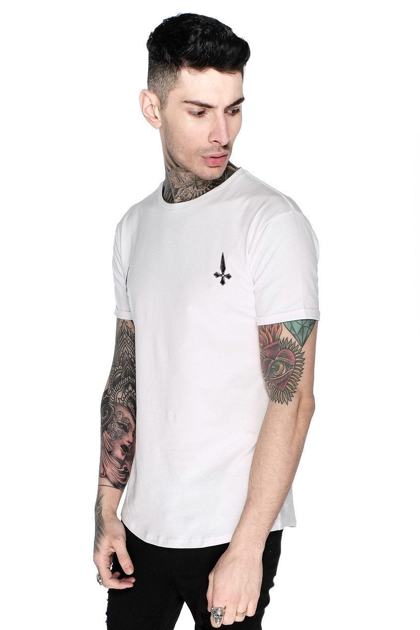 4315ff6e3173 Superstretch Curved Hem Tee in White   Men's T-Shirts – Judas Sinned ...