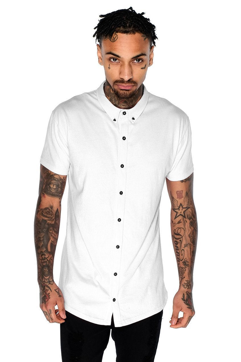 Mens Judas Sinned Superstretch Jersey Shirt - White (SHIRT) - Judas Sinned Clothing