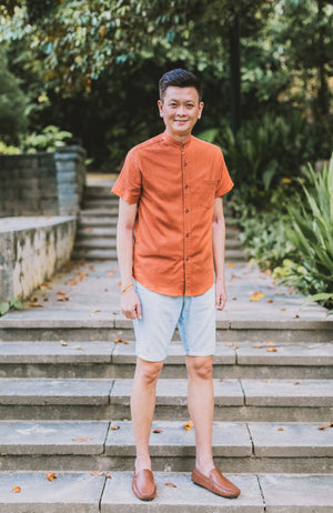 Earthy Hue Mandarin Collar Shirt - Burnt Orange (Daddy)