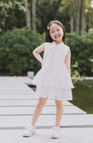 Little Bows Tunic Cheongsam Dress - White