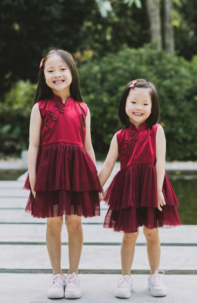 Little Bows Tunic Cheongsam Dress - Red