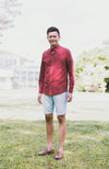Checkered Button Down Shirt - Maroon Red (Daddy)