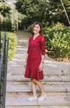 Button Flounced Dress - Maroon Red (Mummy)
