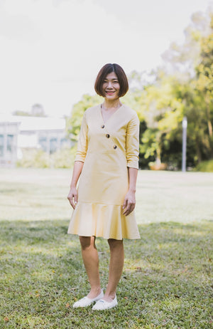 Button Flounced Dress - Yellow (Mommy)