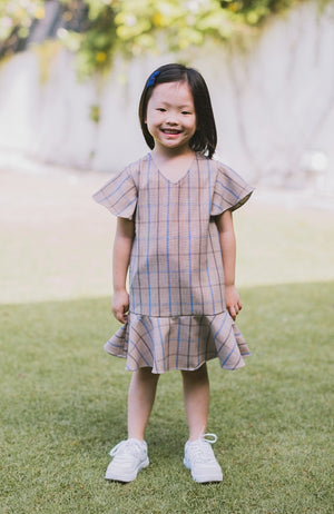 Checkered Flounced Dress - Blue