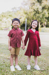 Button Flounced Dress - Maroon Red