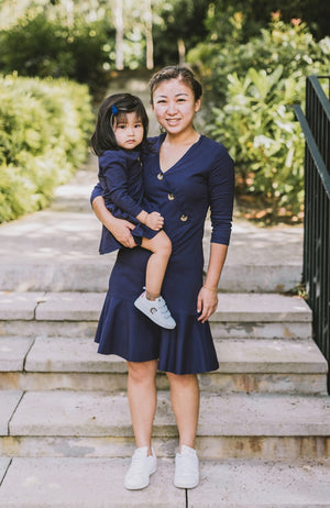 Button Flounced Dress - Navy