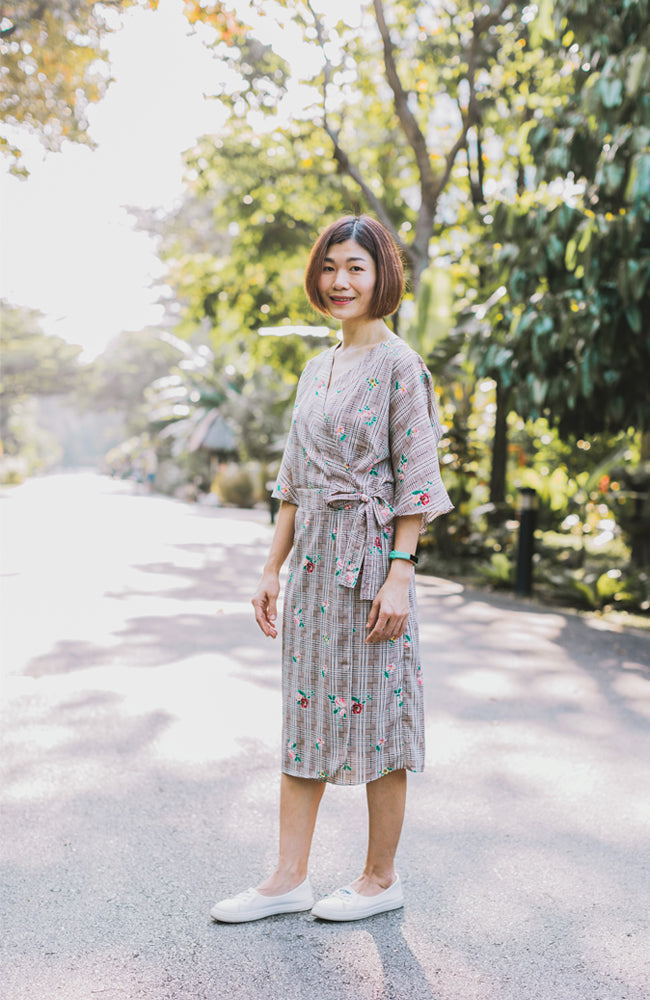 Kimono Flora Wrap Dress - Brown (Mommy)