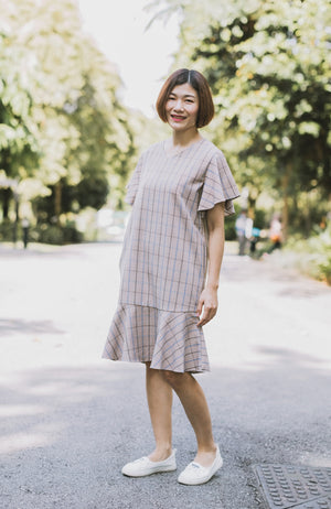 Checkered Flounced Dress - Blue (Mommy)