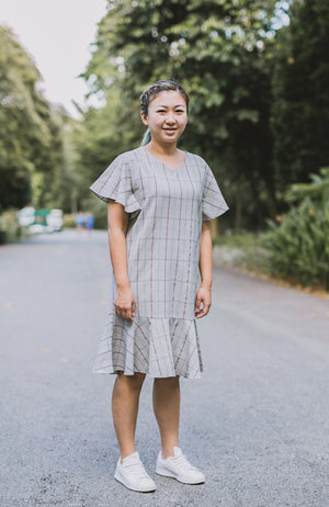 Checkered Flounced Dress - Green (Mommy)
