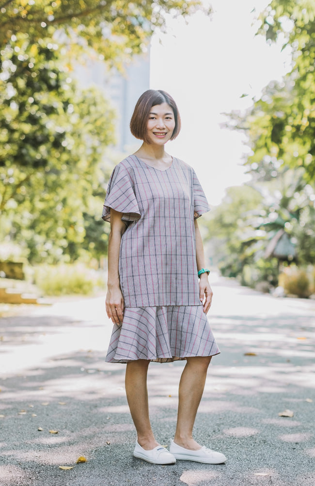 Checkered Flounced Dress - Pink (Mommy)