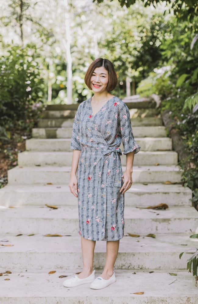 Kimono Flora Wrap Dress - Green (Mommy)