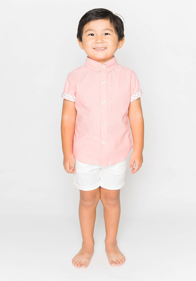 PASTEL HUE COLLARED BUTTON DOWN - PINK