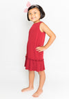 RUFFLED HEM DRESS - RED