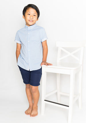 PASTEL HUE COLLARED BUTTON DOWN - BLUE