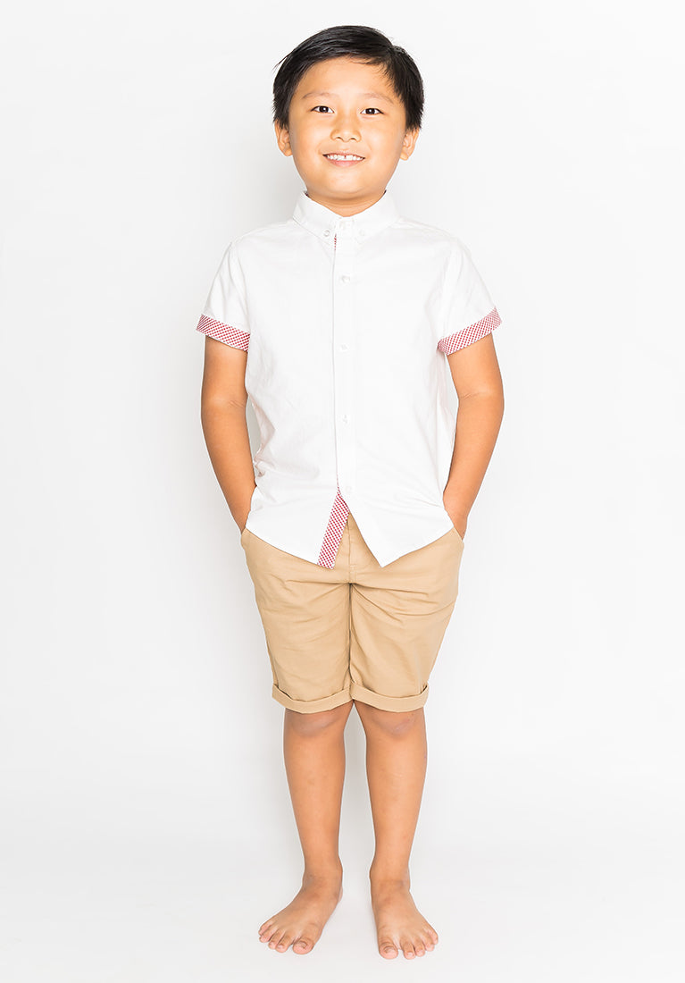 PASTEL HUE COLLARED BUTTON DOWN - WHITE