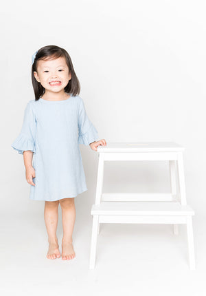RUFFLED SLEEVES DRESS - BLUE