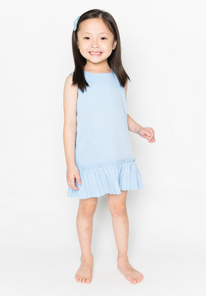 RUFFLED HEM DRESS - BLUE