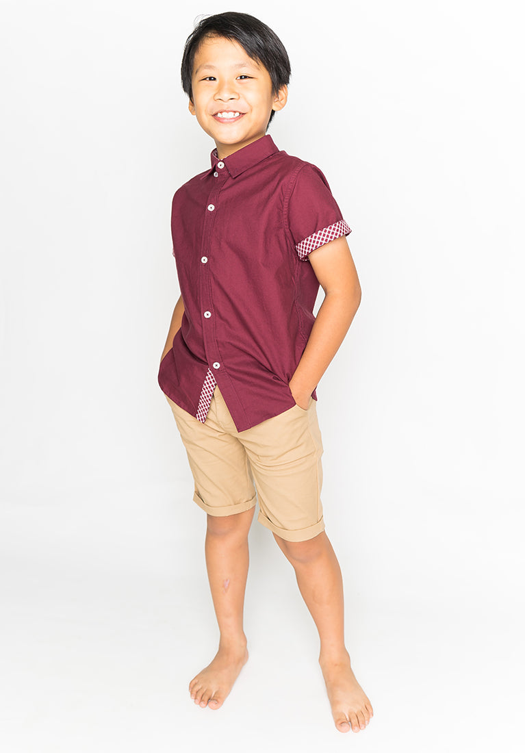 COLLARED BUTTON DOWN - MAROON RED