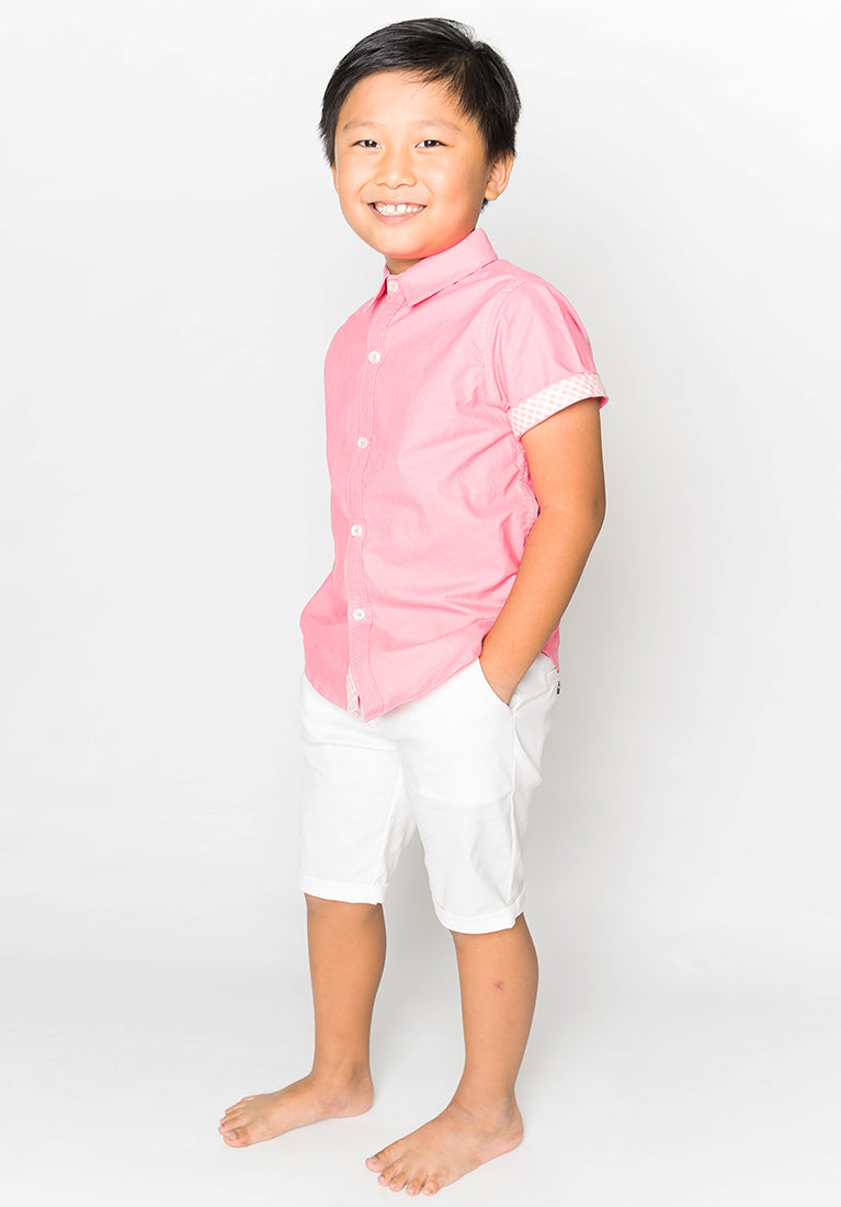 COLLARED BUTTON DOWN - PINK