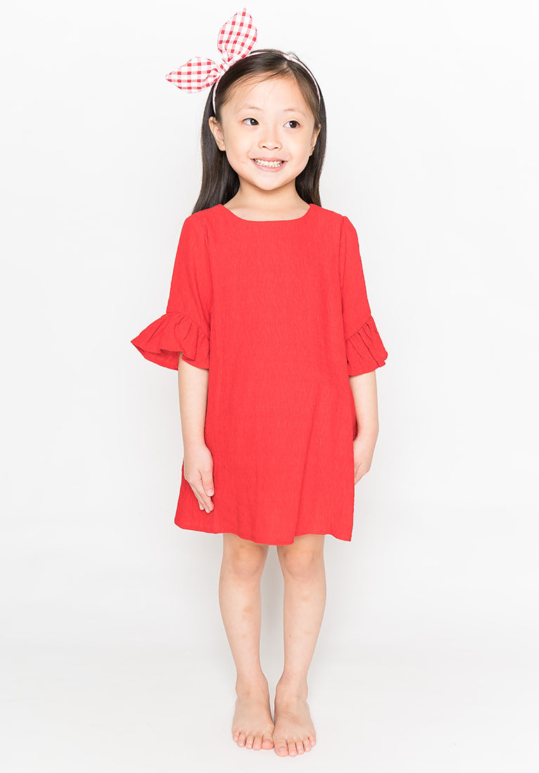 RUFFLED SLEEVES DRESS - RED