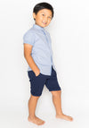MANDARIN COLLAR SHORT SLEEVE BUTTON DOWN - BLUE