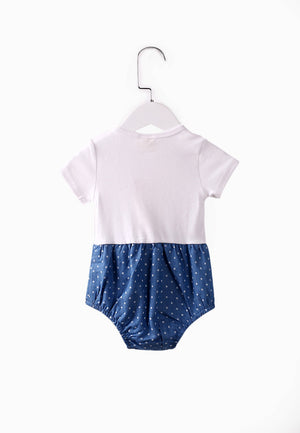 Baby Dot Romper - Denim