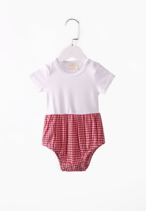 Checkered Classic Romper - Red