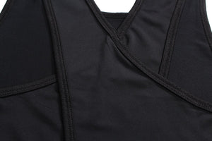 Cross Back Tank Top - Black