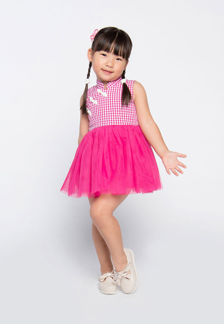 Princess Plaid Dress -Dark Pink