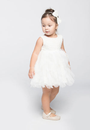 Party Frills Dress - White