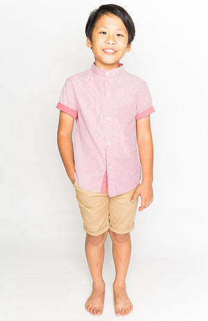 MANDARIN COLLAR SHORT SLEEVE BUTTON DOWN - RED