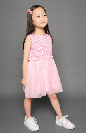 Plaid Party Dress - Pink
