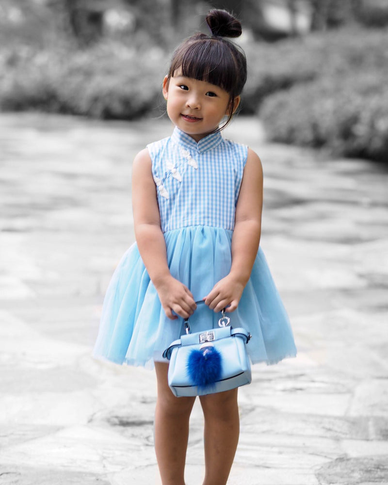Princess Plaid Dress - Blue