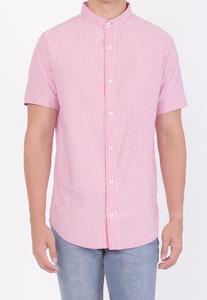 MANDARIN COLLAR SHORT SLEEVE BUTTON DOWN - RED (DADDY)
