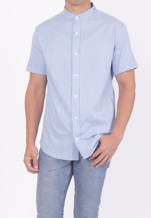 MANDARIN COLLAR SHORT SLEEVE BUTTON DOWN - BLUE (DADDY)