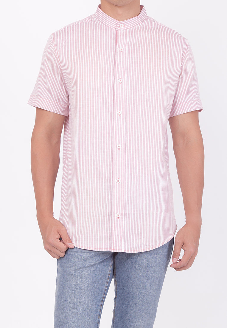 MANDARIN COLLAR SHORT SLEEVE BUTTON DOWN - PINK (DADDY)