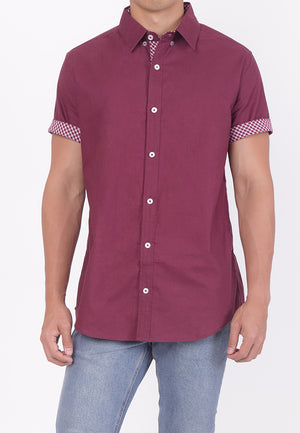 COLLARED BUTTON DOWN - MAROON RED (DADDY)