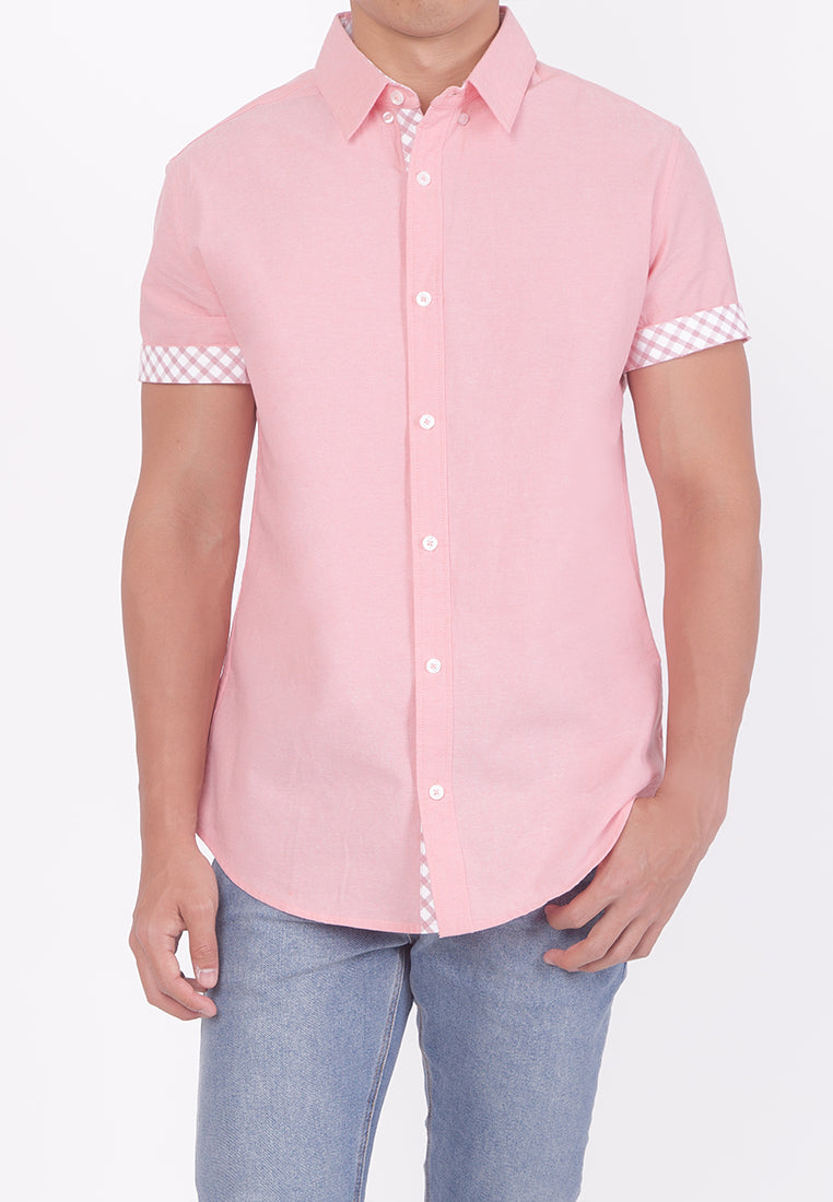 PASTEL HUE COLLARED BUTTON DOWN - PINK (DADDY)