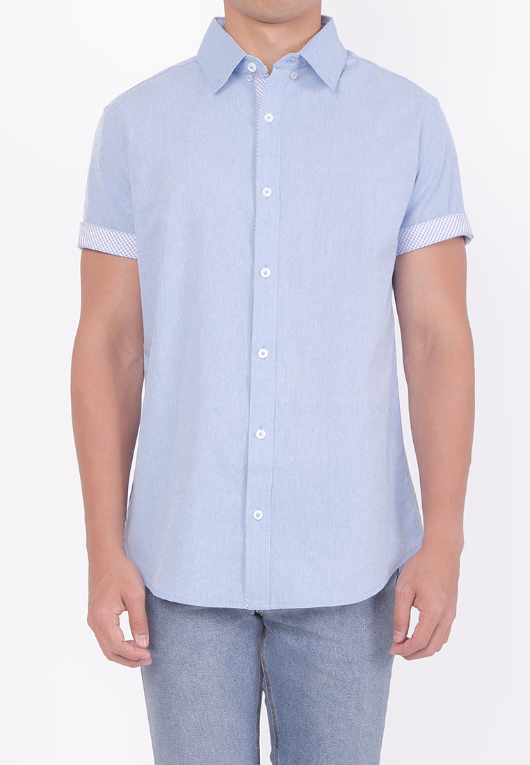 PASTEL HUE COLLARED BUTTON DOWN - BLUE (DADDY)