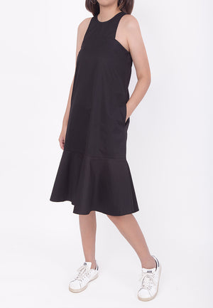 SLEEVELESS OVERSIZED FLARE-HEM DRESS - BLACK (MOMMY)