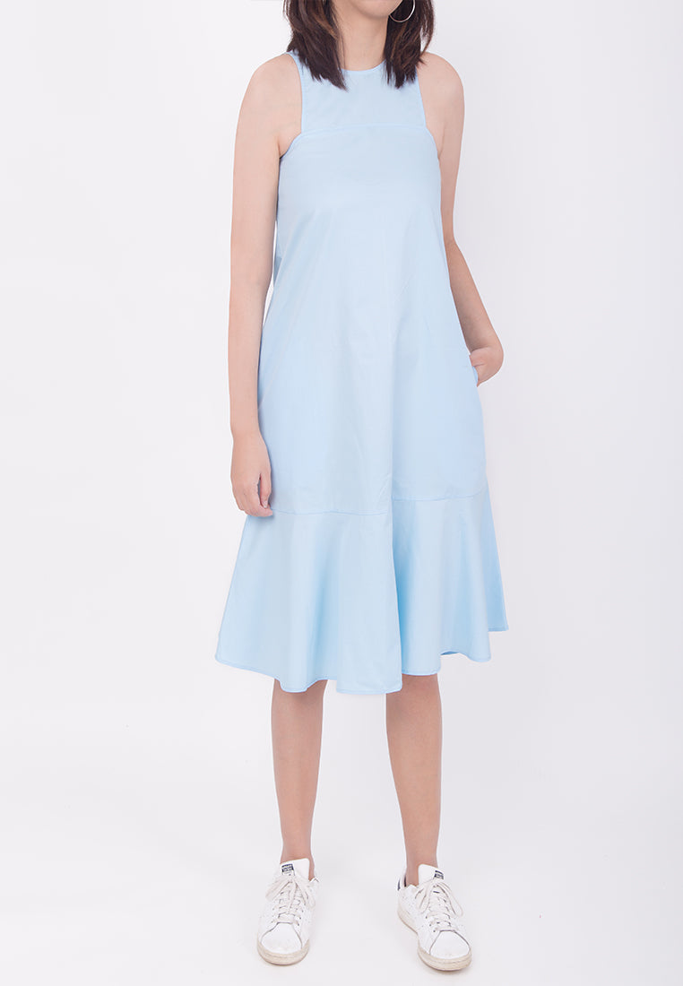 SLEEVELESS OVERSIZED FLARE-HEM DRESS - BLUE (MOMMY)
