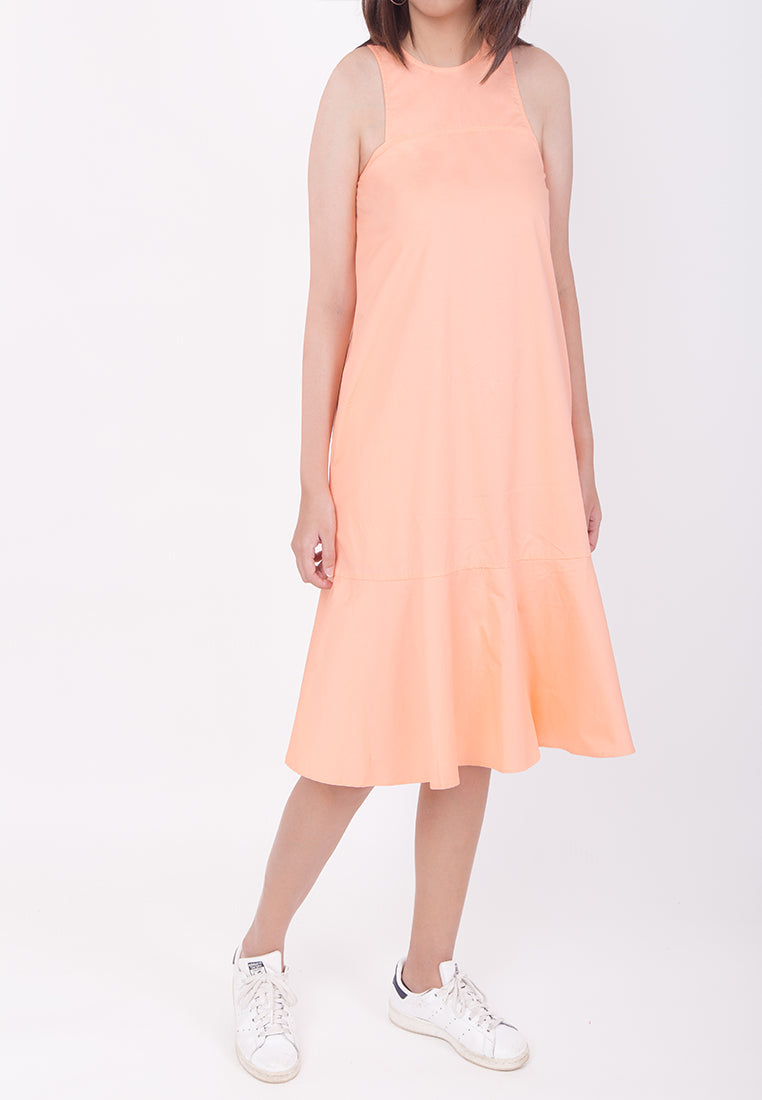 SLEEVELESS OVERSIZED FLARE-HEM DRESS - SALMON PINK (MOMMY)